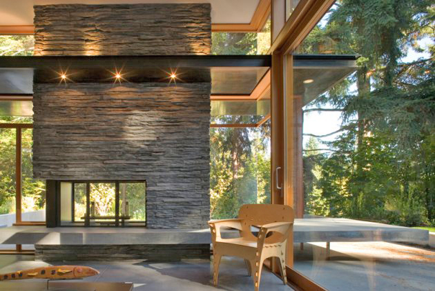 Time to cozy it up modern charlotte nc homes for sale for Long modern fireplace