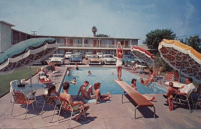 Modern Charlotte - mid century modern pool post card